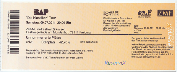 Ticket BAP Freiburg 2011