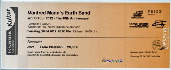 Ticket Manfred Mann's Earth Band
