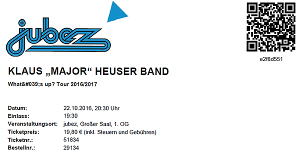 Klaus Major Heuser Band Ticket