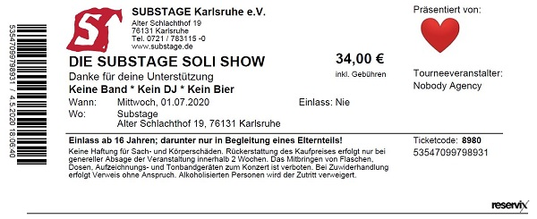 Ticket Substage Soli Show 1. Juli 2020