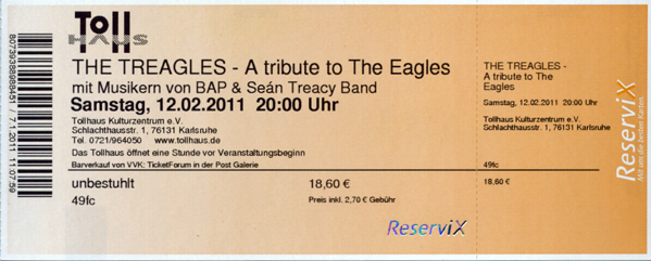 Ticket The Treagles, 12.02.2011, Karlsruhe, Tollhaus