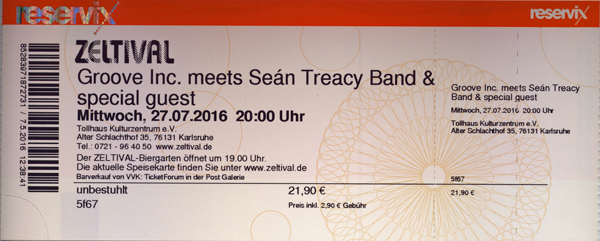 Groove Inc. meets Sean Treacy Band,         27.7.2016, Zeltival Karlsruhe