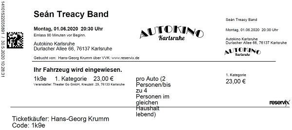 Ticket Sean Treacy Band